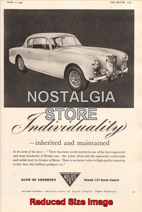 1956 Alvis Of Coventry Advert Retro Car Ads The