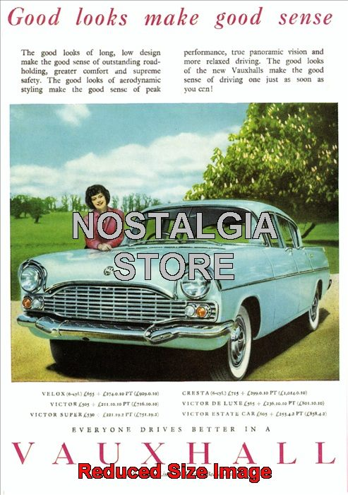 1960 Vauxhall Advert Retro Car Ads The Nostalgia Store