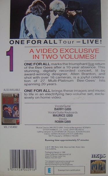 Bee Gees Live One For All Tour Vhs Video The Nostalgia