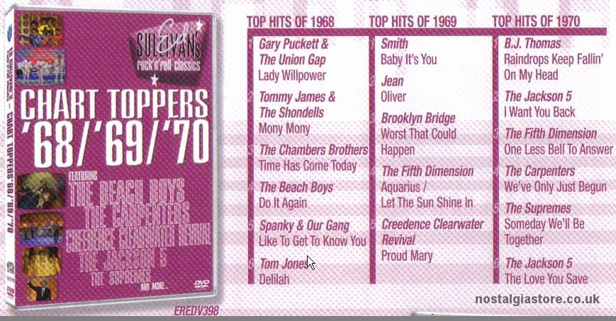 Ed Sullivan S Chart Toppers 68 69 70 Dvd The