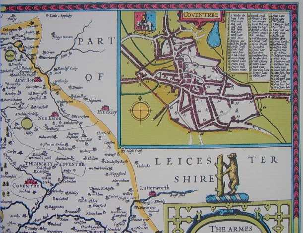Reproduction Print Of Antique Map Warwickshire 1611 The